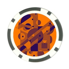 Orange and blue abstract design Poker Chip Card Guards (10 pack)