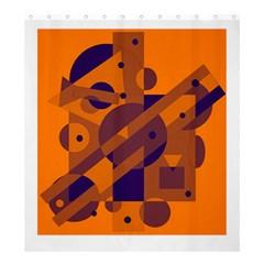 Orange and blue abstract design Shower Curtain 66  x 72  (Large)