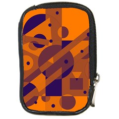 Orange and blue abstract design Compact Camera Cases