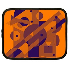 Orange and blue abstract design Netbook Case (XXL)