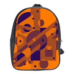 Orange and blue abstract design School Bags(Large)