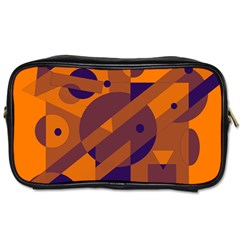 Orange and blue abstract design Toiletries Bags