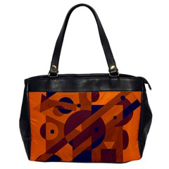 Orange and blue abstract design Office Handbags