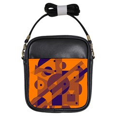 Orange and blue abstract design Girls Sling Bags