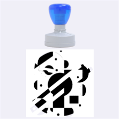 Orange and blue abstract design Rubber Round Stamps (Large)