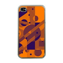 Orange and blue abstract design Apple iPhone 4 Case (Clear)