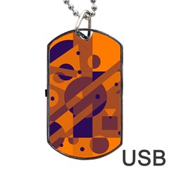 Orange and blue abstract design Dog Tag USB Flash (One Side)