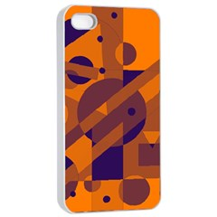 Orange and blue abstract design Apple iPhone 4/4s Seamless Case (White)