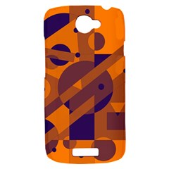 Orange and blue abstract design HTC One S Hardshell Case