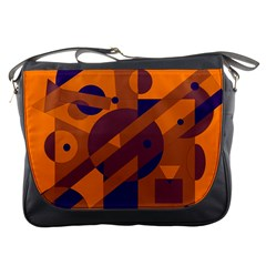Orange and blue abstract design Messenger Bags