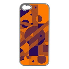 Orange And Blue Abstract Design Apple Iphone 5 Case (silver)