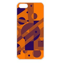 Orange and blue abstract design Apple iPhone 5 Seamless Case (White)