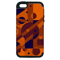 Orange and blue abstract design Apple iPhone 5 Hardshell Case (PC+Silicone)