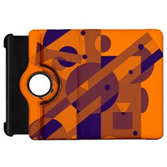 Orange and blue abstract design Kindle Fire HD Flip 360 Case