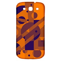 Orange and blue abstract design Samsung Galaxy S3 S III Classic Hardshell Back Case