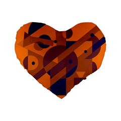 Orange and blue abstract design Standard 16  Premium Heart Shape Cushions