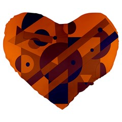 Orange and blue abstract design Large 19  Premium Heart Shape Cushions