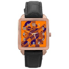 Orange and blue abstract design Rose Gold Leather Watch