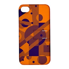 Orange and blue abstract design Apple iPhone 4/4S Hardshell Case with Stand