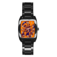 Orange and blue abstract design Stainless Steel Barrel Watch