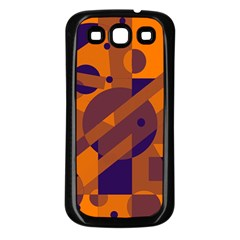 Orange and blue abstract design Samsung Galaxy S3 Back Case (Black)