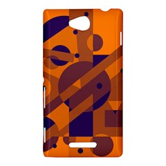 Orange and blue abstract design Sony Xperia C (S39H)