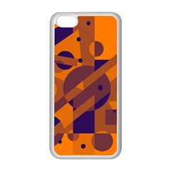 Orange and blue abstract design Apple iPhone 5C Seamless Case (White)