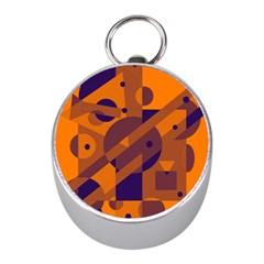 Orange and blue abstract design Mini Silver Compasses
