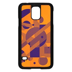 Orange and blue abstract design Samsung Galaxy S5 Case (Black)