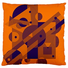 Orange and blue abstract design Large Flano Cushion Case (One Side)