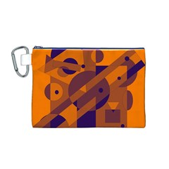 Orange and blue abstract design Canvas Cosmetic Bag (M)