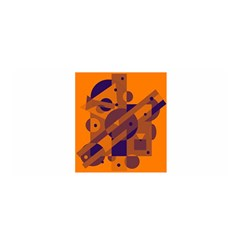 Orange and blue abstract design Satin Wrap