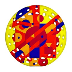 Colorful abstraction Round Filigree Ornament (2Side)