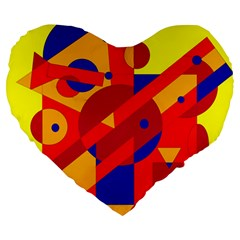 Colorful abstraction Large 19  Premium Flano Heart Shape Cushions
