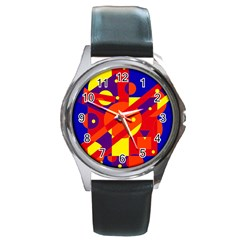 Blue and orange abstract design Round Metal Watch