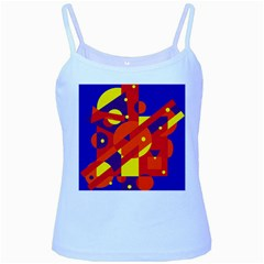 Blue and orange abstract design Baby Blue Spaghetti Tank