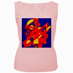 Blue and orange abstract design Women s Pink Tank Top