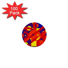 Blue and orange abstract design 1  Mini Buttons (100 pack)