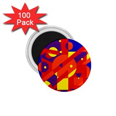 Blue and orange abstract design 1.75  Magnets (100 pack)