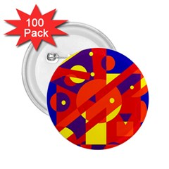 Blue and orange abstract design 2.25  Buttons (100 pack)