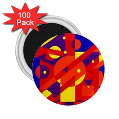 Blue and orange abstract design 2.25  Magnets (100 pack)