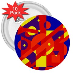 Blue and orange abstract design 3  Buttons (10 pack)