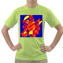 Blue and orange abstract design Green T-Shirt