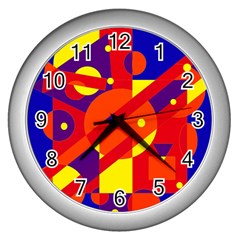 Blue and orange abstract design Wall Clocks (Silver)