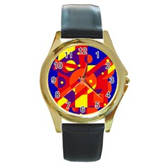Blue and orange abstract design Round Gold Metal Watch