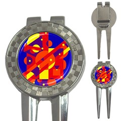 Blue and orange abstract design 3-in-1 Golf Divots
