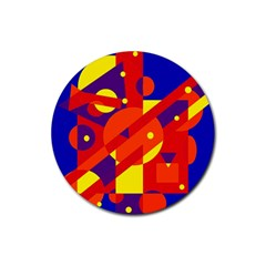 Blue and orange abstract design Rubber Round Coaster (4 pack)