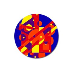 Blue and orange abstract design Magnet 3  (Round)