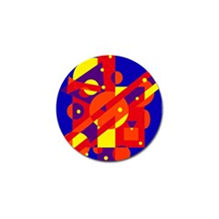 Blue and orange abstract design Golf Ball Marker