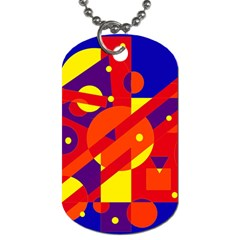 Blue and orange abstract design Dog Tag (Two Sides)